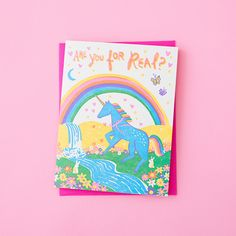 are you for real? unicorn greeting card with hot pink envelope