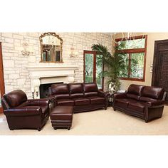 Great Annabelle Top Grain Leather Living Room Set Top Grain Leather Dark Burgundy  Sofa, Loveseat, Chair And Ottoman By Abbyson Living®