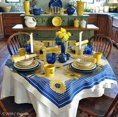 Fiestaware in Sapphire, White and Sunflower.