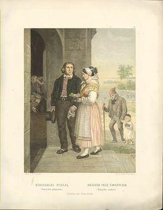 Folk Costume, Finland, 19th Century, Working Class, Painting, Female, Art, Art Background, Painting Art