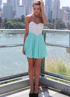 White&Teal Strapless Dress with Lace Bodice&Cutout Back<br/><div class='zoom-vendor-name'>By <a href=http://www.ustrendy.com/Xenia>Xenia</a></div>