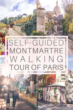 Paris self-guided walking tour. Free walking tour of Montmartre, 18e arrondissement of the city of lights, France. Highlights include the Sacré-Coeur, Place du Tertre, Etc. #TravelTips