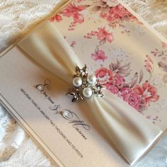 'Regency Rose' Wedding Invitation. Beautiful vintage wedding style by Crystal Couture Wedding Stationery Norfolk, UK.