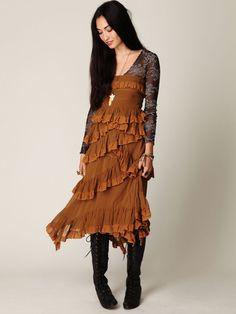 Silk Ruffle Dress + boots