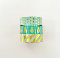 Mint Green Gold Foil Washi Tape Set of 3