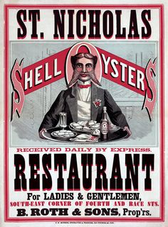 St. Nicholas Restaurant. Shell oysters received daily by express. For ladies & gentleman, south-east corner of Fourth and Race Sts. B. Roth and Sons, Prop'rs. Vintage advertisement for Cincinnati restaurant, c. 1873. Prints from $15.