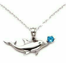 FB Jewels 10K Yellow Gold Dolphin Jumping with Mouth Open High Polish and Textured Pendant