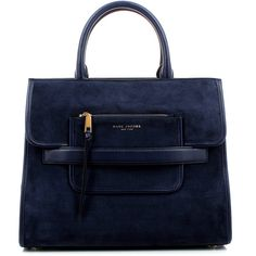 Marc Jacobs Madison Suede Ns Tote Midnight Blue Bag (1.820.165 COP) ❤ liked on Polyvore featuring bags, handbags, tote bags, bolsas, hand bags, blue handbags, suede tote, handbags totes and zip tote