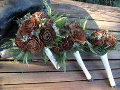 Woodland Wedding Bouquet  - Dried Flower Bouquet - Cedar Rose & Lichen - Bridesmaid or Flower  Girl