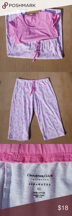Charter Club Pink 2 Piece Pajama Set Charter Club pink 2 piece pajama set. Very comfortable to wear. In excellent condition and only worn twice. Capris have a drawstring on it.   Comes from a smoke-free home. Charter Club Intimates & Sleepwear Pajamas