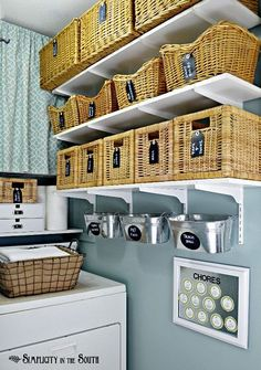 Laundry Room Reveal {small Home/ BIG Ideas} - Simplicity in the South This small laundry room is big on organization ideas! Using baskets, bins, shelves along with hidden storage makes this 28 sq ft laundry room super organized and stylish. Laundry Room Shelves, Laundry Room Organization, Laundry Rooms, Laundry Area, Laundry Storage, Laundry Closet, Organizing Life, Wall Storage, Hidden Storage