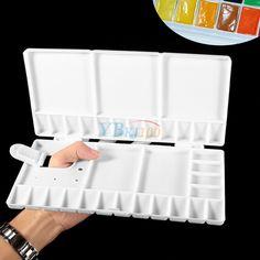 Folding White 33 Grid Large Art Paint Tray Artist Oil Watercolor Plastic Palette