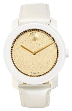 'Bold' Glitter Dial Leather Strap Watch, 42mm
