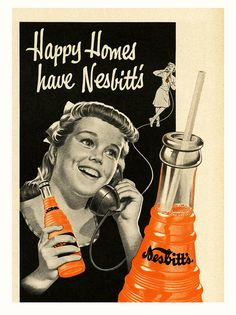 Happy homes have Nesbitt's. #food #drinks #1950s #ads