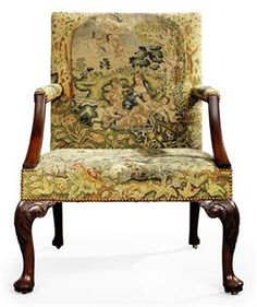 OH MY GOSH!  Could KICK myself for not buying the one I saw on our first trip to Saluda, NC!!!!A GEORGE II MAHOGANY AND NEEDLEWORK ARMCHAIR  CIRCA 1750