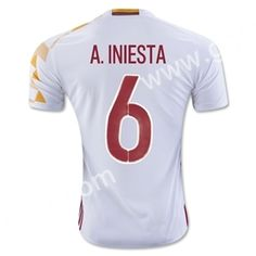 soccer jersey from topjersey 2016 European Cup Spain A.INIESTA Away White  Thailand Soccer Jersey-Spain 563a144c6f6