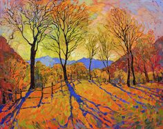Crystal Dawn - Erin Hanson Prints - Buy Contemporary Impressionism Fine Art Prints Artist Direct from The Erin Hanson Gallery Contemporary Landscape, Abstract Landscape, Landscape Paintings, Abstract Art, Oil Paintings, Modern Paintings, Erin Hanson, Shadow Painting, Light Painting