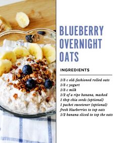 This overnight oats recipe that calls for soy or almond milk is the perfect option for vegans. For those without special dietary requirements, we're bringing you a handful of other quick-and-easy overnight oats recipes. Breakfast In A Jar, Breakfast Time, Breakfast Recipes, Breakfast Ideas, Vegan Breakfast, Blueberry Overnight Oats, Overnight Oatmeal, Raw Food Recipes, Cooking Recipes