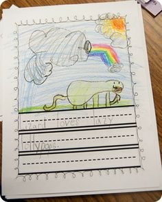 We talked a lot about alliteration last week and ended the week with a little alliterative writing after reading If You Were Alliteration.  We brainstormed a giant list of animals and then I had each of my firsties choose an animal to write about in an alliterative sentence.  The sentence could be silly or serious.  OF course, all of the writing I got back was definitely silly!  The kids had to write a sentence and then illustrate it.