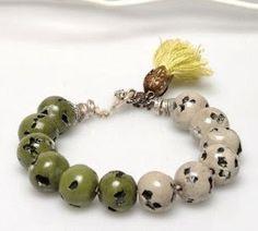 Harvest Color Beads Bracelet Beaded Bracelet Green by ArzuMusa