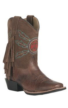 Smoky Mountain Youth Chocolate Brown & Suede Upper with Fringe & Thunderbird Square Toe Western Boots | Cavender's