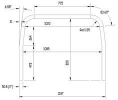 dimensions of a standard Meyers Manx roll bar