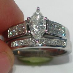 details about 2ct ladies marquise diamond engagement ring wedding band bridal set 14k white
