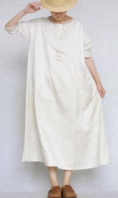 Round neck + Long sleeves+ long dress  comfortable fabric.    1.Code no: 2303    2. Fabrics: 100% linen    3.Size.................: one size (Inch)