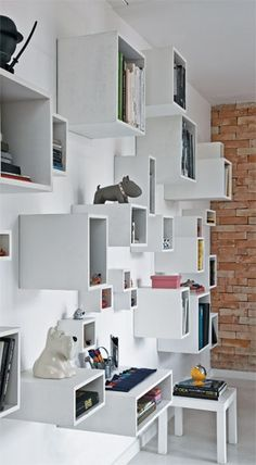 boxes bookcase - also love the dogs on top of the boxes in white and grey