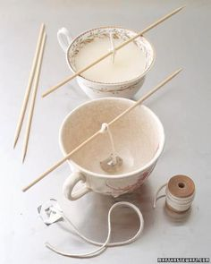Last minute gift idea!     Teacup light  Tools and Materials  *Nested pans  *Partially burned candles  *Candy or candle thermometer  *Tongs  *New wicking  *Teacups  *Wick sustainers  *Wooden skewers    Teacup Lights How-To  1. In a small pan set over a larger pan of simmering water, melt down old candles; clip the thermometer to the upper pot, and keep temperature at about 185 degrees. Remove old wicks with tongs.