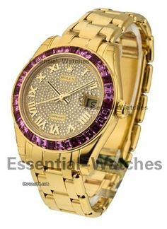 Rolex 34mm Masterpiece with Pink and Purple Sapphire Bezel - Yellow Gold - Pave Diamond Dial