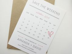 Amanda Calendar Save the Date / Postcard Save von avisualconcept, $50.00