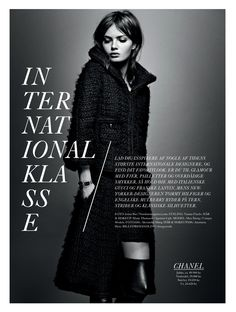 visual optimism; fashion editorials, shows, campaigns & more!: international klasse: moa aberg by jonas bie for eurowoman december 2013