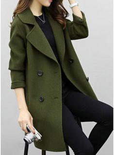 fc59080639 Cotton Long Sleeves Plain Wool Coats Coats