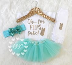 Baby Girl Easter Outfit, Girls Easter Clothes, My First Easter, Oh For Peeps Sake, Tutu and Headband Set, Aqua and Gold, Leg Warmers by BannahBabyCo on Etsy https://www.etsy.com/listing/502259491/baby-girl-easter-outfit-girls-easter