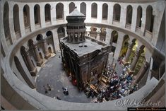 Church of the Holy Sepulchre - showing the centre with venerated shrine marking the spot of the original tomb of Christ - known by the Greek word Kouvouklion or Latin word Aediculum