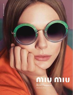 afc6467dc864 Elizabeth Olsen for Miu Miu Eyewear Ad Campaign green shades.