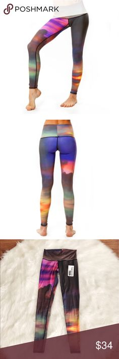 • Teeki • Yoga Sunset Athletic Hot Pant Leggings - Teeki - New with Tags - Hot Pants  - Full Length  - Breathable  - 4 Way Stretch  - Sunset Pattern  - Size Small Teeki Pants Track Pants & Joggers