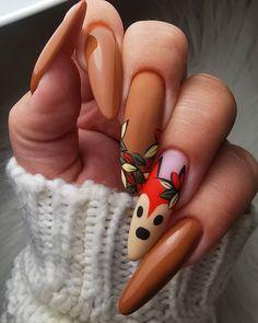 Holiday Nail Art, Christmas Nail Art Designs, Christmas Nails, Pink Nail Art, Pink Nails, Fox Nails, Cute Spring Nails, Nailart, Brown Nails