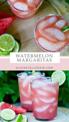 Look no further for your summer drink! This Watermelon Margarita is perfectly refreshing and incredibly easy to make; paleo and refined sugar-free. #againstallgrain #paleo #daniellewalker #summer #margarita Party Drinks, Cocktail Drinks, Fun Drinks, Alcoholic Drinks, Summer Cocktails, Distilled Beverage, Watermelon Margarita, Against All Grain, Alcohol Recipes