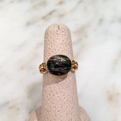 Vaid Roma Three Dimensional Golden Rutilated Quartz Onyx Gold Ring | From a unique collection of vintage cocktail rings at https://www.1stdibs.com/jewelry/rings/cocktail-rings/