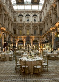 The courtyard in The Royal Exchange, Central London. This Grade I listed building was remodelled in 2001 and is a most glamorous wedding venue.