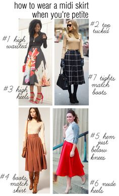 How to wear a midi skirt when you are petite fashion for petite women, short Fashion For Petite Women, Petite Fashion Tips, Womens Fashion, Dress For Petite Women, Fashion Tips For Women, Fashion Over 40, Look Fashion, Curvy Fashion, Fall Fashion