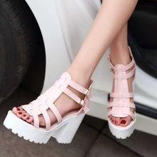 Sandalias de punta abierta zapatos de plataforma mujeres del estilo de roma Shoes moda hebilla diseño grueso tacones altos zapatos ocasionales de la señora(China (Mainland))