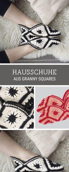 DIY-Häkelanleitung für Hausschuhe aus Granny Squares / crochet pattern for cozy slippers made of granny squares via DaWanda.com