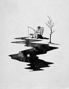 Astronaut fishing for stars - anyone know this artist?