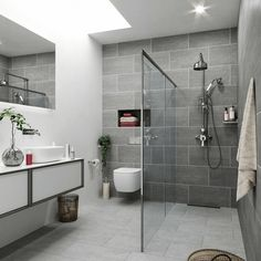 300 x 600 mm / 5.5 tiles per m2 Porcelain tile suitable for walls and floors, available in 3 colours – Anthracite, Grey and Light Grey Very much on trend, this sophisticated looking tile has a subtle, textured look to it and with three different shades of grey is perfect for adding some contrast