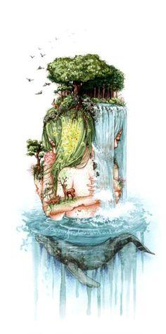 by Loonaki Illustrations by Carlotta Schulz aka Loonaki. Carlotta is an artist based in Germany.Illustrations by Carlotta Schulz aka Loonaki. Carlotta is an artist based in Germany. Art And Illustration, Nature Illustrations, Art Inspo, Kunst Inspo, Art Et Nature, Nature Tree, Nature Artists, Nature Artwork, Nature Water