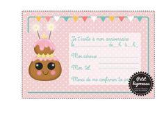 """Printable birthday card invitation """"chou""""/PDF"""