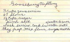 Gooseberry Pie Filling handwritten recipe card